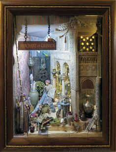 "Photos of 1:12 Scale Roomboxes from the 2015 Seattle Miniature Show: ""Merchant of Granada"" Roombox by Kylie Byland"
