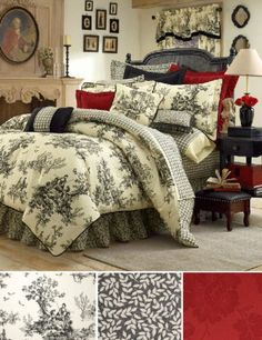 Toile Bedding, Toile Comforters & Bed Sets in Black & White, Red, Blue and Green Toile de Jouy: The Home Decorating Company guest room French Country Bedrooms, French Country House, Country Style, French Country Bedding, French Cottage, French Bedding, Country Cottage Bedroom, Country Bedroom Design, French Country Interiors