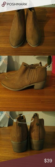 Vegan Brown Booties Brand new Melrose and Market vegan booties, perfect condition. Sold at Nordstrom. Nordstrom Shoes Ankle Boots & Booties