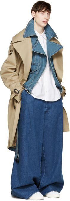 Juun.J Khaki & Blue Layered Trench Coat