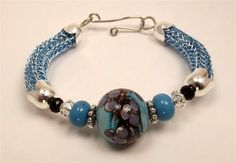 Ice Blue Viking Knit Bracelet With Blue SRA Lampwork Focal Beads