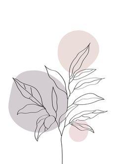 Minimalist one line art plant print