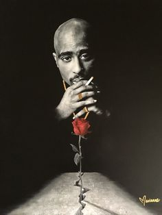 """""""The Rose That Grew From Concrete"""" Tupac archival prints * Acid-free cotton cold-press archival fine art paper with a border to allow framing, or * Stretched canvas with solid black edges Arte Do Hip Hop, Hip Hop Art, Tupac Tattoo, Tattoo Hip, Tattoo Music, Tupac Birthday, 2pac Wallpaper, Arte Cholo, Tupac Pictures"""