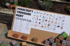 Minecraft Treasure Hunt Party Game with printable template Minecraft Party Bags, Minecraft Party Decorations, Minecraft Birthday Cake, Minecraft Party Activities, Minecraft Crafts, Lego Minecraft, Minecraft Skins, Minecraft Templates, Birthday Activities