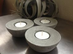 Set of 3 Concrete Candleholders  Organic Home Decor by AnsonDesign, $24.00