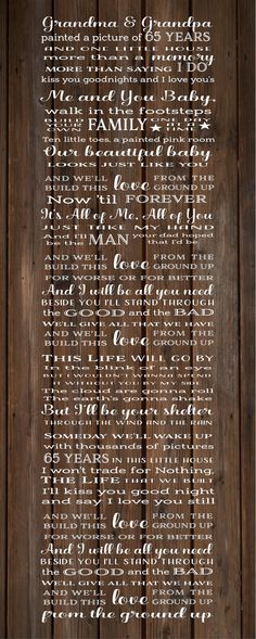 And We Built This Love From Ground Up Dan and Shay Lyrics Wood Sign, Canvas Wall Art, Banner - Wedding, Annviersary, Christmas, Birthday