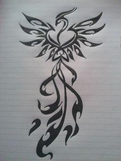 I'm liking tribal phoenix tattoos. Tribal Tatoos, Tribal Phoenix Tattoo, Phoenix Tattoo Design, Design Tattoo, Small Phoenix Tattoos, Great Tattoos, Beautiful Tattoos, New Tattoos, Girl Tattoos
