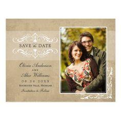 Elegant Wedding Save the Date Neutral Photo Save the Dates | Vintage Elegance Postcard