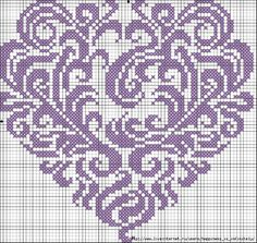 Infinity Heart cross stitch  St Valentine gift in red and pink