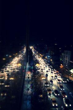 City traffic photography cars rain night city lights street wet