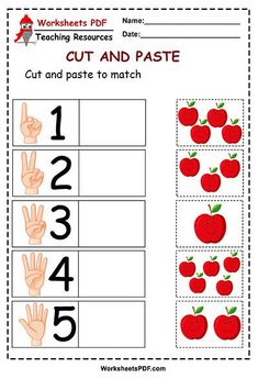 Today we share with you teacher friends. The next worksheet cut and paste, It is about counting how many apples are in the box then paste in the corresponding n Fall Preschool Activities, Preschool Writing, Numbers Preschool, Toddler Learning Activities, Preschool Learning Activities, Preschool Body Theme, Kindergarten Math Worksheets, Math For Kids, Cut And Paste Worksheets