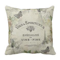 Paris Vintage Wine and Roses Pillow