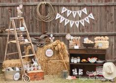 Cowboy Party Ideas Use wooden ladder! Horse Birthday Parties, Cowboy Birthday Party, Cowgirl Birthday, Farm Birthday, Pirate Party, Petting Zoo Birthday Party, Country Birthday Party, Birthday Bash, Birthday Ideas