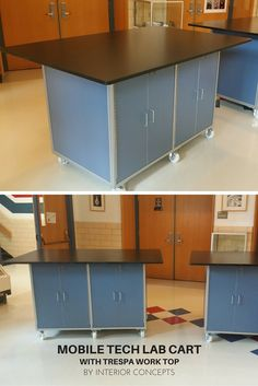 Mobile tech lab cart with Trespa work top. Made by Interior Concepts School Furniture, Office Furniture, Lab Tech, Interior Concept, Classroom Environment, Learning Environments, Science Labs, Maker Space, Technology
