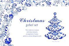 Christmas gzhel set by Lyuart on @creativemarket