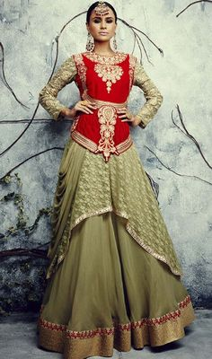 Pep up your confidence and beauty dressed in this green and red color shantoon embroidered lehenga choli dress. The lovely lace and resham work a substantial feature of this attire. #latestdesignlehengacholi #weddingclothes #weddingwears