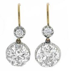 Antque 3.94ct Old Mine Cut Diamond 14k Yellow Gold & Silver Dangling Earrings - See more at: http://www.newyorkestatejewelry.com/earrings/victorian-3.94ct-diamond-dangling-earrings/24458/5/item#sthash.HMzPiSCD.dpuf
