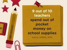 Fact: 9 out of 10 teachers spend out-of-pocket on school supplies.