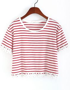 Red Striped With Appliques Crop T-Shirt 8.99
