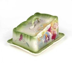 Royal Bonn covered cheese dish, orchid decoration, :