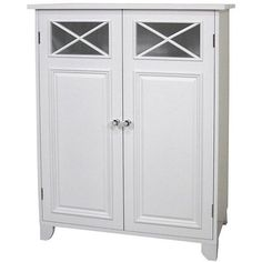 This contemporary 2-door floor cabinet, finished in white, is a quaint piece. Providing ever-needed storage, this simple case features clean lines, adjustable shelving, and decorative crisscross accents to give your home charm and cheer.