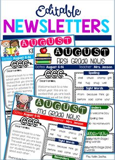 Back to school editable newsletters.