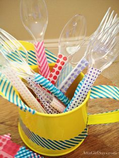 Washi Tape Picnic Utensils.  this would be awesome for holiday themed parties