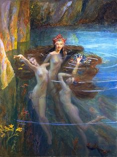 In Greek mythology, the Nereids are sea nymphs, the fifty daughters of Nereus and Doris, sisters to Nerites. They often accompany Poseidon and can be friendly and helpful to sailors fighting perilous storms. They are particularly associated with the Aegean Sea, where they dwelt with their father in the depths within a silvery cave. The most notable of them are Thetis, wife of Peleus and mother of Achilles; Amphitrite, wife of Poseidon; and Galatea, love of the Cyclop Polyphemus.