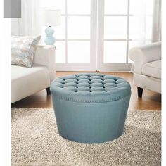 Round Storage Ottoman Tufted With NailHeads Aqua Living Room Home Furniture New #BetterHomesandGardens #ModernTuftedWithNailHeads