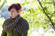 Ravelry: The Gathering pattern by Kalurah.  A beautiful cowl that looks very much like Claire's. And the designer offers it for free!  Unlike some others that are actually charging $5 or more!  Which seems excessive for a garter stitch cowl using bulky yarn.  Seriously.