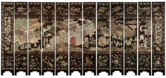 A Chinese twelve-panel Coromandel lacquer screen. Qing dynasty, Kangxi period (1661-1722), a hinged 12-panel screen of black lacquer over wood, polychrome enameled to one face with a classical palace scene depicting dignitaries approaching the interior castle walls while the battle of famous Tang Dynasty General Guo Ziyi (697-781 AD) unfolds outside. Estimate: $60,000- $80,000