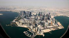 View from an airplane: Downtown Doha, Qatar. Photo by Elmar Bajora Doha, Airplane Window, Airplane View, Urban Photography, Aerial Photography, Dubai City, Dubai Uae, Cultural, Photos Du