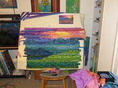 Making Blue Ridge Mountain Sunset Quilting Tutorials, Quilting Projects, Quilting Designs, Patchwork Quilting, Art Quilting, Fabric Painting, Fabric Art, Fabric Crafts, Fiber Art Quilts