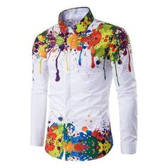Colorful Splatter Paint Pattern Turndown Collar Long Sleeve Shirt ❤ liked on Polyvore featuring tops, colorful shirts, long sleeve shirts, long-sleeve shirt, multi color shirt and multicolor shirt
