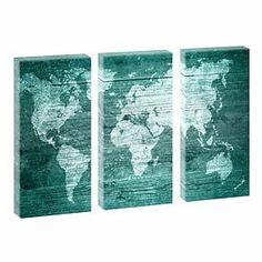 Weltkarte Türkis- Kunstdruck auf Leinwand - dreiteilig -je 40cm*80cm