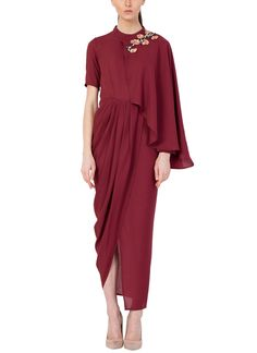 Indian Fashion Designers - Aakaar By Ankit Sharma - Contemporary Indian Designer - Maroon Floral Embroidered Drape Dress - Drape Gowns, Draped Dress, Chiffon Dress, Indian Fashion Designers, Indian Designer Wear, Simple Dresses, Pretty Dresses, Kebaya Modern Dress, Kids Bridesmaid Dress