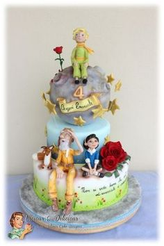 The Little Prince Cake - Vicious & Delicious by Sara Solimes The Little Prince Theme, Little Prince Party, Panda Birthday Cake, Prince Birthday Party, Fondant Cookies, Cupcake Cakes, Prince Cake, Different Cakes, Themed Cakes