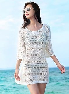 Little White Dress-----------------------------Polyester Solid 3/4 Sleeves Mini Sexy Dresses