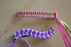 Pink and Green Mama: Old School Crafting: Weaving Ribbon Barrettes-- for SWAP w Girl Guides?