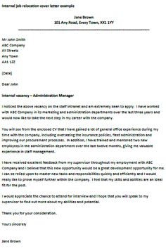 internal job relocation letter. Resume Example. Resume CV Cover Letter