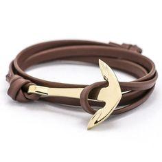 Europe type style leather anchor bracelet adorn article Tom hope charm bracelet men women jewelry - 1004