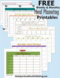 FREE Weekly & Monthly Meal Planning forms; as well as a Freezer Cooking List!
