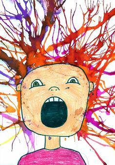Your students use watercolours and straws to blow paint around the head of their self portrait to create the crazy hair.
