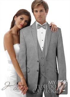 Heather Grey 'Savoy' Tuxedo from http://www.mytuxedocatalog.com/catalog/rental-tuxedos-and-suits/c965-grey-savoy-tuxedo/