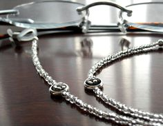 Silver Eyeglass Leash for Reading Glasses with by kalxdesigns, $17.99