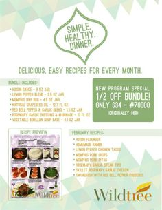Simply Healthy Dinners!  www.Facebook.com/wildtreeofficial