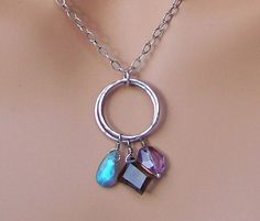 Labradorite smoky quartz and amethyst necklace with sterling silver on Etsy, $45.00
