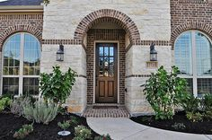 Brick and Stone Exterior Combinations Stone Front House, House Front, Front Porch, Austin Stone, Brick Porch, Modern Exterior, Stone Exterior, Cottage Bath, Brick Detail