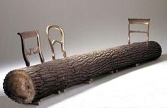The design is simple and what makes it so special is the combination of elements that were used to make it a whole. It is a wooden log that has three back seats attached to it. The metallic color of the back seats emphasize the uncommon combination, however, it brings a different dimension to the idea of minimalism. Comfort is not one of the best choices of words to describe this wooden sofa.