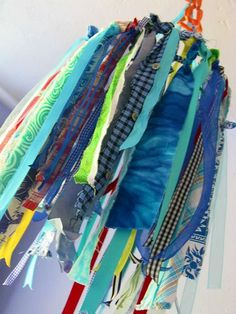 Ribbon Mobile | Baby's quilt scraps transformed into a Ribbo… | Flickr